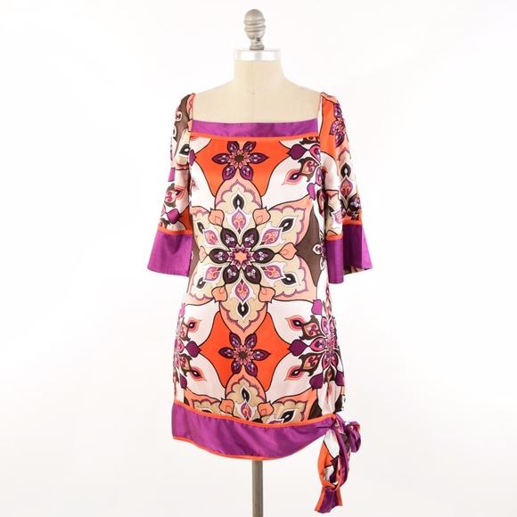 bebe Dresses & Skirts - BEBE Retro-Print Silk Charmeuse Mini Shift Dress